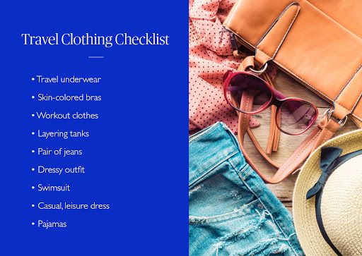 Travel clothing checklist and assorted travel needs