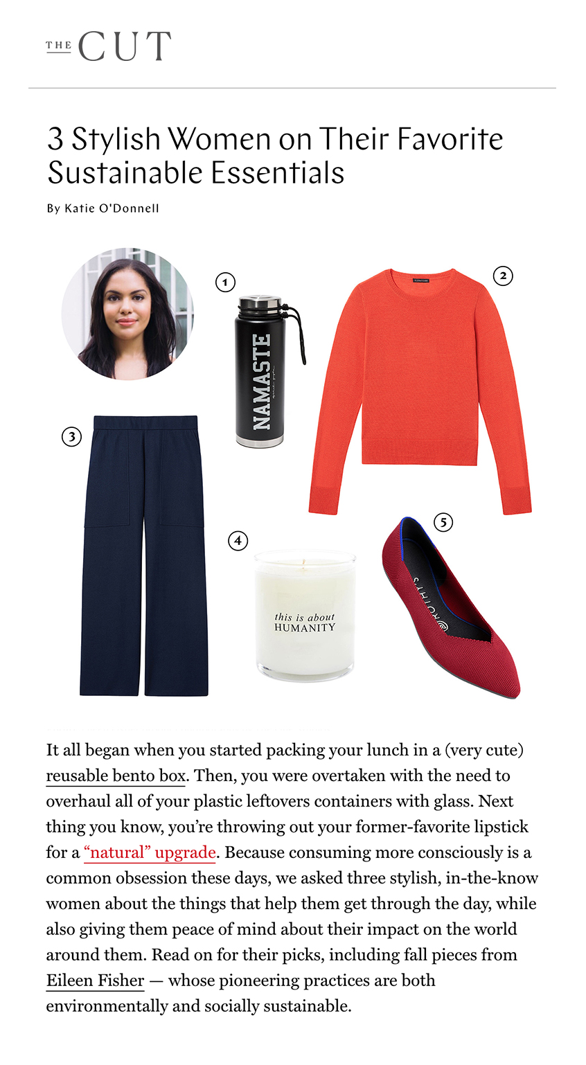 I own these pointed flats — constructed with low-waste, low-impact materials—in three colors and keep them at my desk or in my tote.