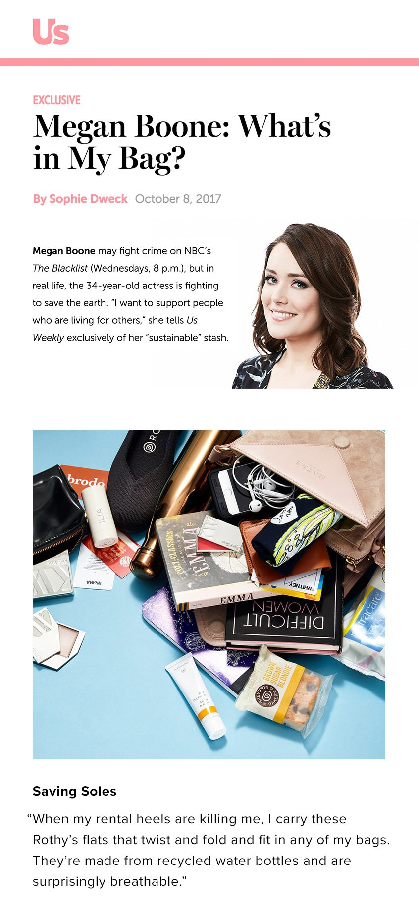 What's in Megan Boone's sustainable stash?