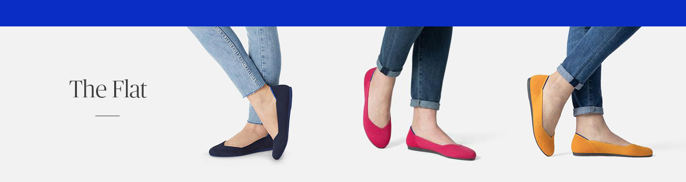 Three pairs of Rothy's flats in various colors