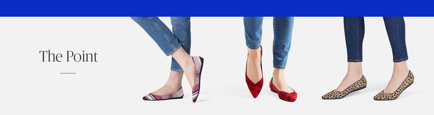 Three pairs of pointed toe flats in various patterns
