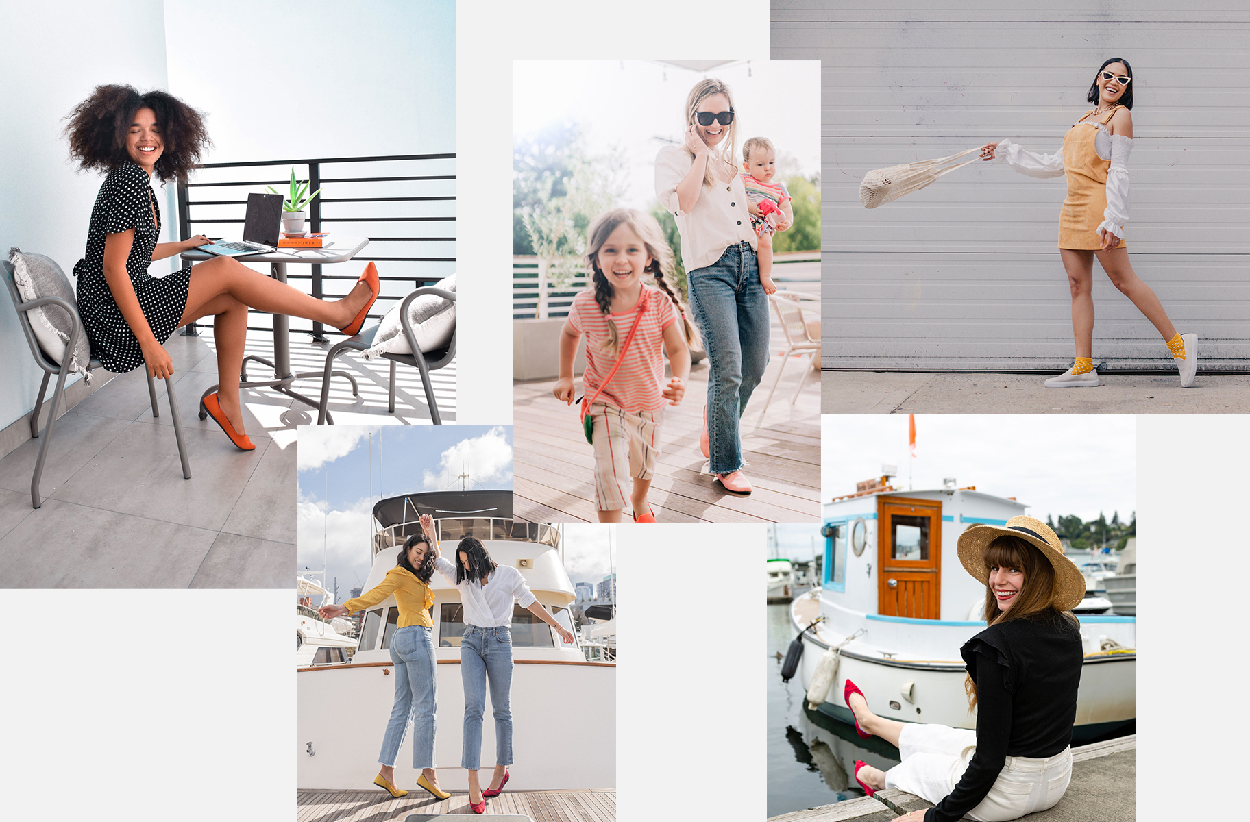 Collage of Rothy's shoes on-model in various lifestyle settings.