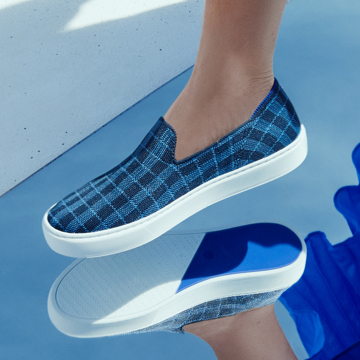 The Sneaker in Indigo Gingham shown on-model.
