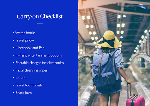 Carry on checklist with image of woman in an airport with a carry on